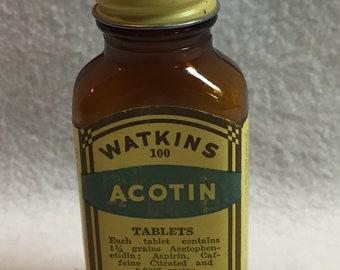 Vintage J.R. Watkins Acotin Bottle (#108)