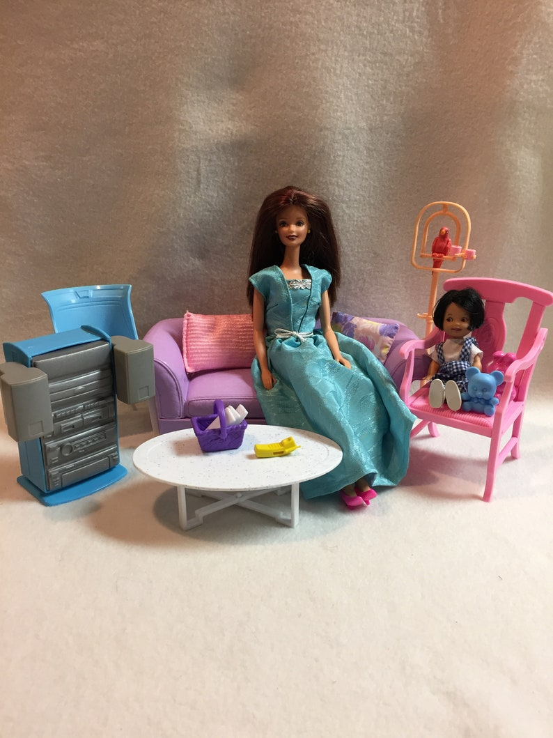 Vintage Barbie Furniture Purple Couch Chairs Coffee Table Etsy