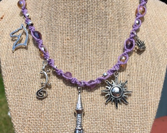 Rapunzel charm necklace- fairy tale jewelry- hemp necklace- lavender purple necklace- beaded necklace- glass beads- rapunzel metal charms