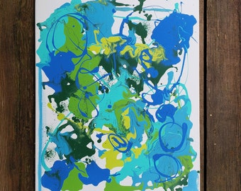 Abstract Original 16x20 Acrylic Painting on Canvas Blues and Greens