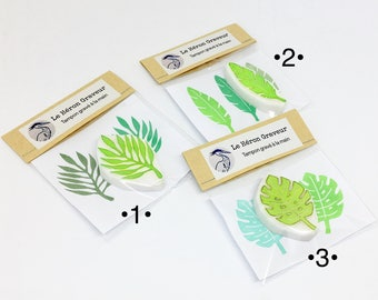 Tampon feuille tropicale, tampon jungle, tampons gravés main, tampons bullet journal, tampon Monstera, tampons mariage