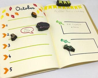 Tampons bullet journal, tampons bujo, tampons agenda, tampons carnet, tampon date, tampon épingle, tampon fanion, bulle, lot de 5
