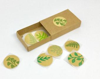 Stickers feuilles, autocollants feuilles, stickers kraft, autocollants, feuilles, succulentes, cactus, emballage cadeau, lot de 20