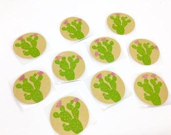 Stickers cactus, autocollants cactus, stickers ronds, stickers kraft, étiquettes cactus, imprimé à la main, lot de 10