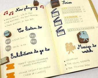 Tampons bullet journal, tampons bujo, tampons journal, tampon cinéma, tampon musique, tampon séries, tampon organisateur, lot de 5