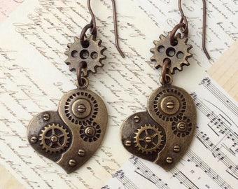 Steampunk Clockwork Heart Earrings, Gear Heart Earrings, Steampunk Jewellery, Antique Gold Heart, Gear Cog Heart, Gift for her, Dangle