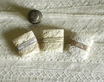 Three Miniature Bolts Of Cotton Lace