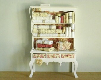 Shabby French Toile De Jouy Lace Cabinet Dresser