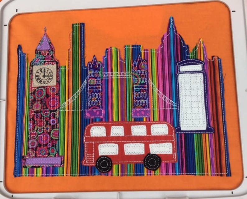 London Scene, Raw Edge Applique, Machine Embroidery Pattern by Pixie Willow  Patterns - In The hoop Design - Free motion embroidery