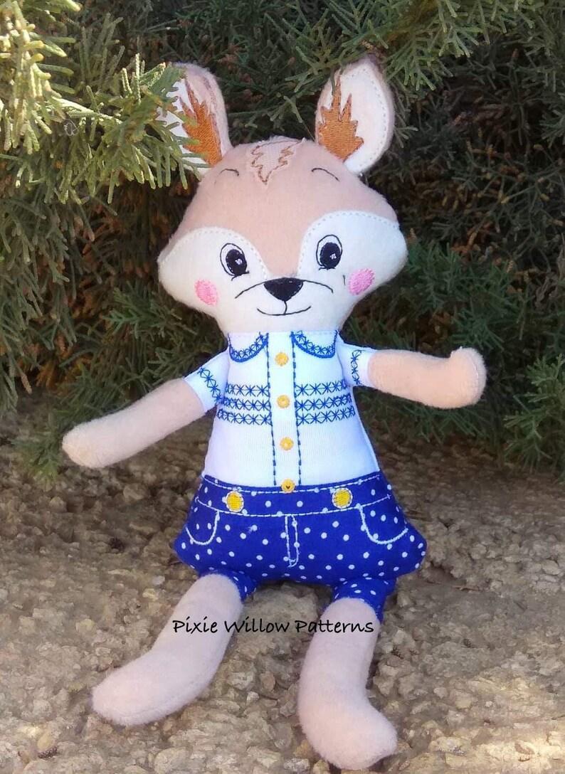 6x10 5x7 ITH project 7x12 /& 8x12. ITH Boy Fox Softie Machine Embroidery Pattern