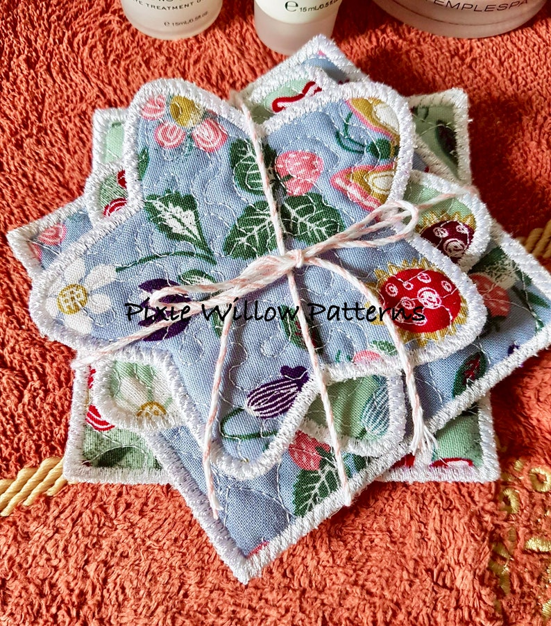 Star /& Square Shapes 4x4 Make-up wipes Machine Embroidery Pattern ITH Reusable Make Up remover Pads In The Hoop Project