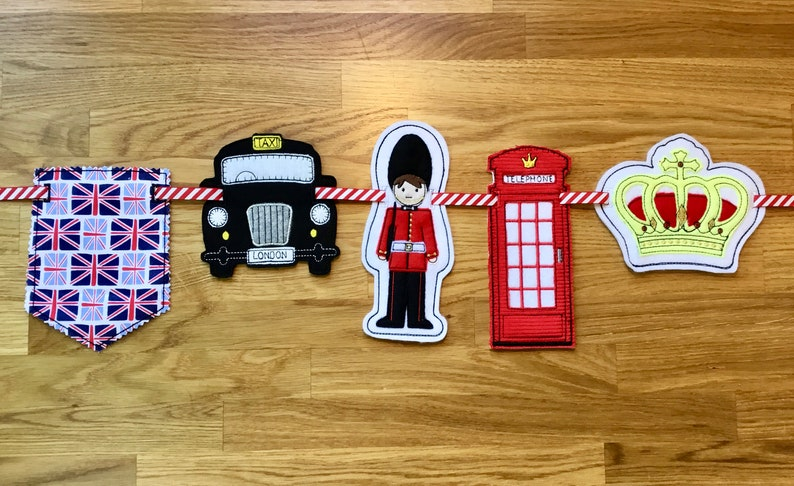 Post box London Taxi Crown ITH British Icon Series Bunting Design Pack1 Machine Embroidery London Guard and Spearhead Bunting.