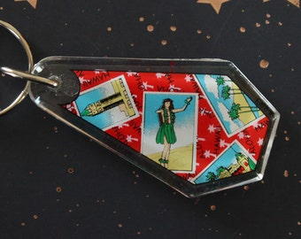 Vintage Hawaii Keychain 1990's 1980's Aloha Tower Hula Girl