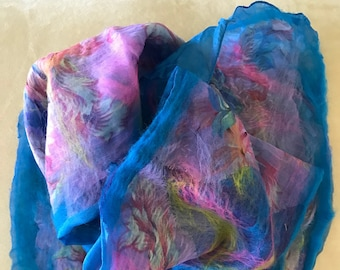 Nuno felted silk and merino wool.