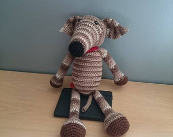 Crocheted Brindle Greyhound Amigarumi Made to Order