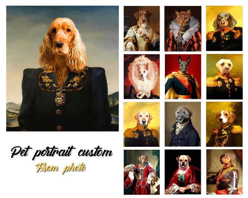 Regal Pet Custom pet portrait French Princess Queen Queen Queen Pet Portrait, Regal pet portraits Cat lover Royal Pet Princess