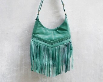 80589bca1 Bohemian Boho Turquoise Leather Fringe Tassel Hobo Bag~Crossbody Bags~ HandBags~Bags & Purses by My Gratitude Bali