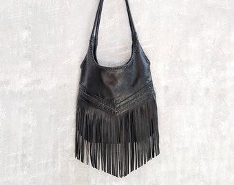 ee6d097f8 Bohemian Boho Black Leather Fringe Tassel Hobo Bag~Crossbody Bags~HandBags~ Bags & Purses by My Gratitude Bali