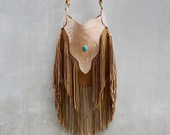fca97ac61 Bohemian Boho Tan Leather Fringe Carved Crossbody Bags~Festival bag