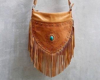 22ed211bb8 Bohemian Boho Tan Leather Carved Fringe Crossbody Bags~Festival bag