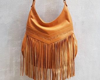 1acf02961 Bohemian Boho Tan Leather Fringe Tassel Hobo Bag~Crossbody Bags~HandBags~ Bags & Purses by My Gratitude Bali