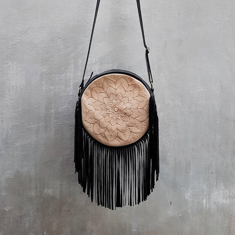 f4b8d15b3 Boho Black Leather Fringe Tassel BagCrossbody BagsHand   Etsy