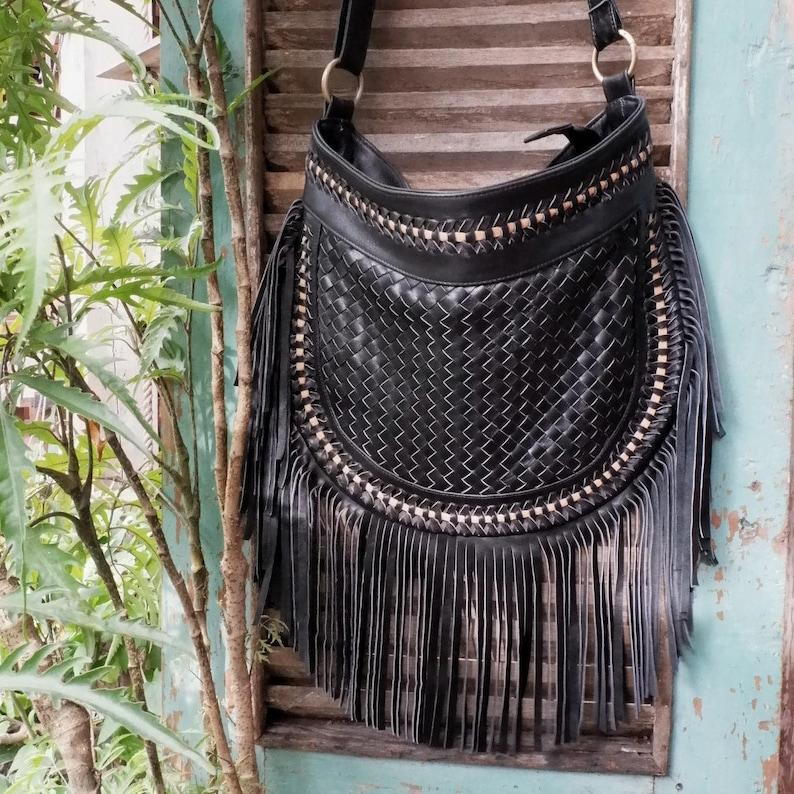 b78b77034 Bohemian Boho Black Leather Fringe Crossbody Bags Festival   Etsy
