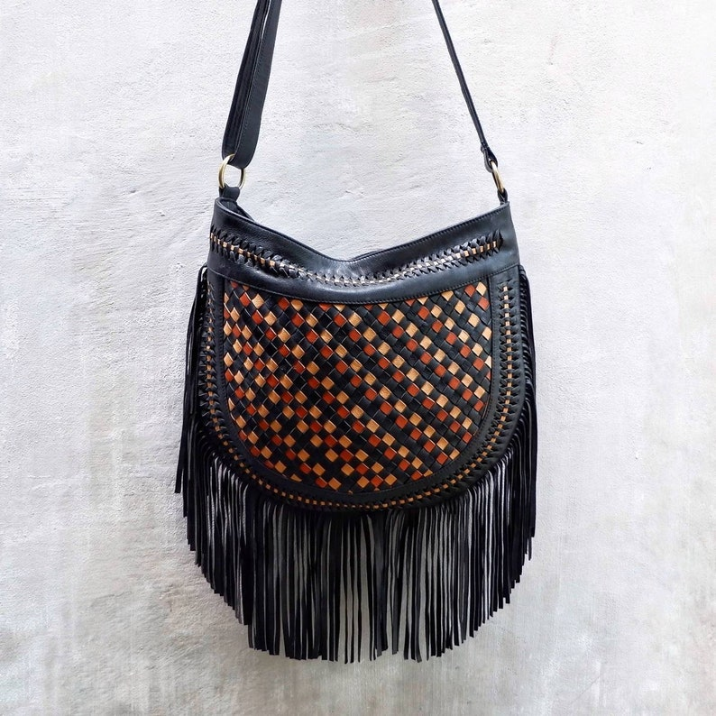c8853974b Bohemian Boho Leather Fringe Crossbody BagsFestival   Etsy