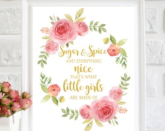 1f3aaade19fb Sugar And Spice And Everything Nice Girls Nursery Wall Art Nursery  Printable Pink Baby Shower Girls Wall Decor Quote for girls Gold Nursery