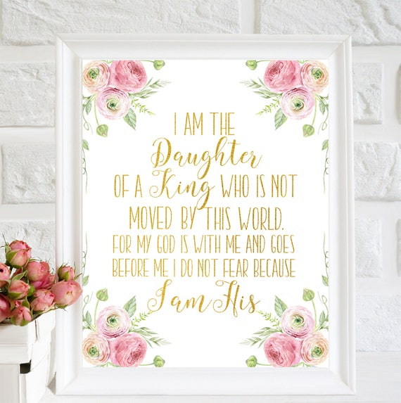 Nursery Print I Am The Daughter Of A King Baptism Gift Etsy