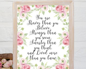 You are braver than you believe printable pink nursery print Nursery Decor Girl nursery quote Inspirational Winnie the Pooh Quote printable