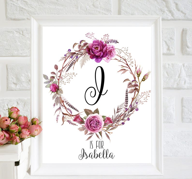 Isabella Print Letter I Custom Name Art Print Floral Girl Etsy