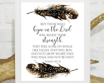 Isaiah 40:31 But those who hope in the Lord will renew their strength Scripture Bible verse Bible verses wall art Bible verse printable