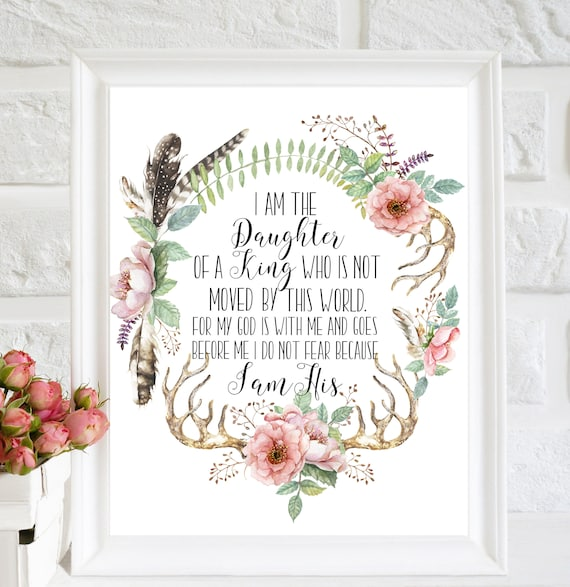I Am The Daughter Of A King Baptism Gift Scripture Print Etsy