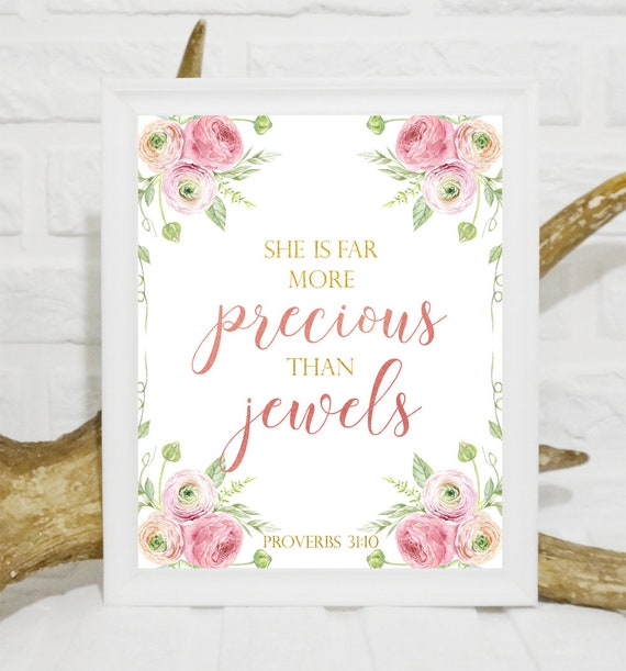 She is far more precious than jewels print Girls nursery Bible verse art  Baby Girl Nursery Scripture wall decor nursery printable girl decor