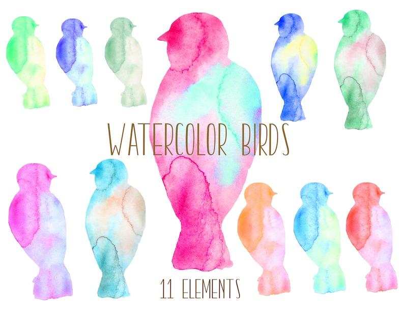 Watercolor Hand painted birds Birds Clip Art birds illustration instant download birds clipart Bird Silhouette digital scrapbooking