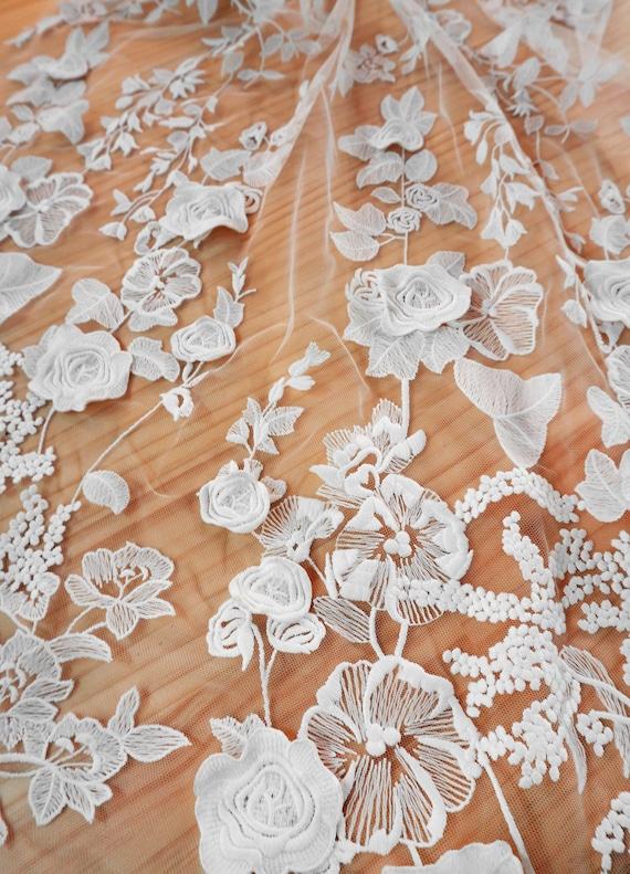 GAYCHUN 3D flower Leaf embroidery lace fabric wedding dress