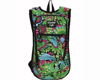 Elevated Lyfe Hydration Pack - GREEN DREAM (MEDIUM) - 2L Water Bladder Included - Perfect for music festivals, concerts, hiking, & more!