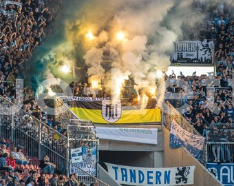 120 cm x 50 cm hochwertiger FineArtPrint Blue-Letter Fans Zwickau Stadion Panorama