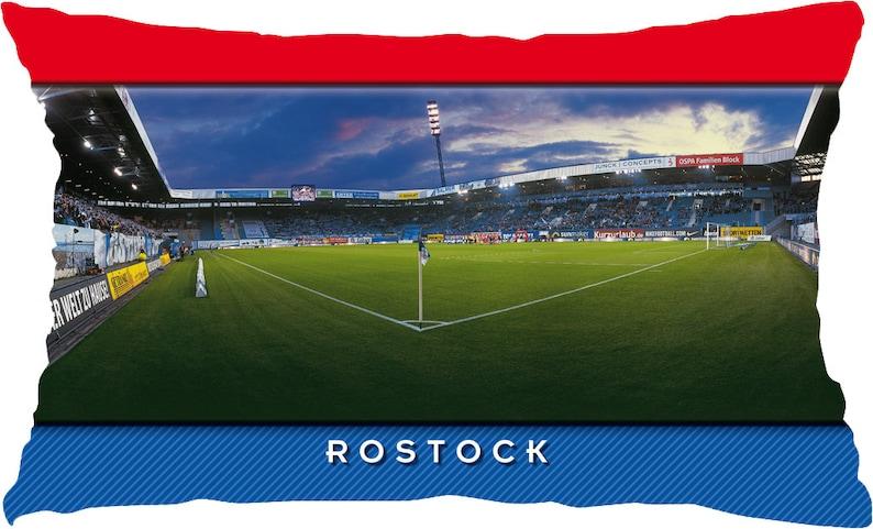 Rostock Eckfahne Stadium Postcard Pillow 50 cm x 30 cm