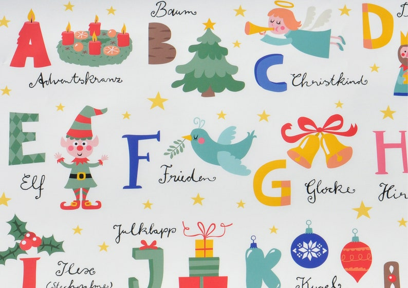 base price: 6,02Eurosquare meters Gift wrapping Paper-Christmas ABCalphabet for pre-school children and school Beginners