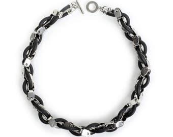 Black & Silver Necklace, Short Statement Necklace, Black Silicon Necklace
