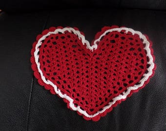 Vintage Hand Crocheted Heart Doily
