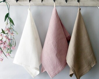 100%  LINEN three TOWELS with loop, kitchen towels with loop