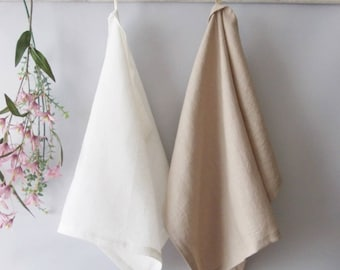 100%  LINEN , two  TOWELS with loop, kitchen towels with loop