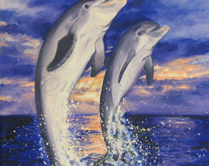 Jump together -Dolphin couple