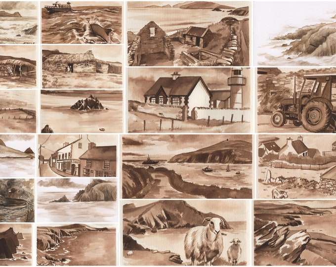 Sepia Prints in set from the Dingle Peninsula