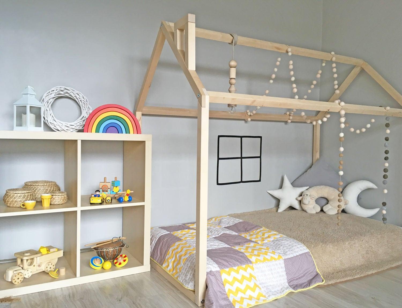Montessori-Bett Kleinkind-Bett-Haus-Rahmen Boden-Bett Holz | Etsy