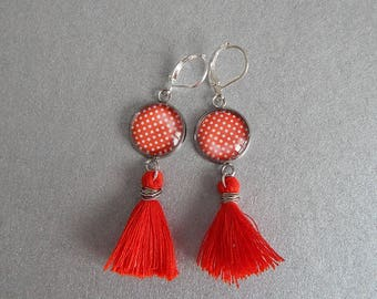 Gingham, red tassel, Valentine earrings