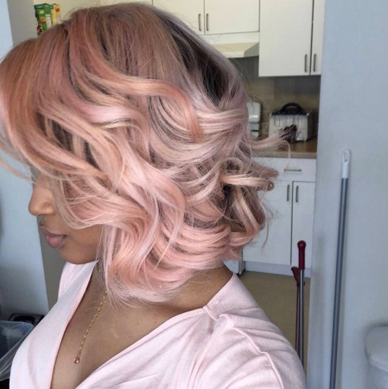 Rose Gold Ombre Short Bob Wavy Curly Cut Style 100 Human Hair Etsy